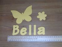 Fabric Iron On Butterfly Set. Personalised With Name. Plain Colours