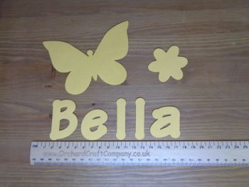 Butterfly Set. Iron On Fabric Applique, Personalised With Name. Plain Colours