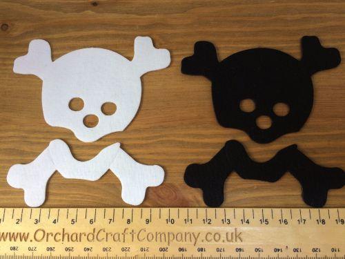 2 Skull & Crossbones. Fabric Iron On Applique. Plain Colours