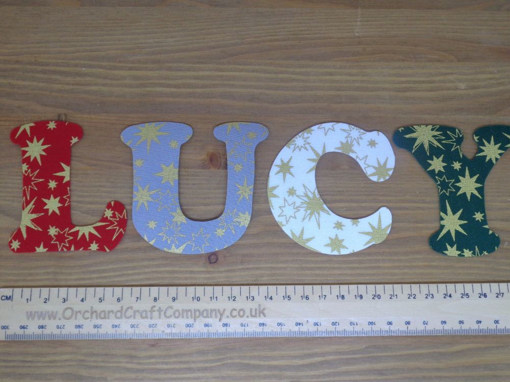 2 x Iron on Christmas Fabric 7.5cm letters. Christmas Colours