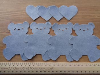 4 Felt Teddy Bears with matching hearts