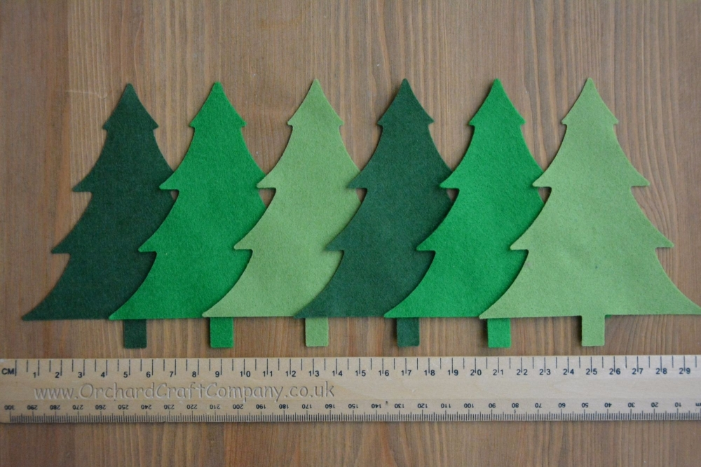 Quality Felt Christmas Trees x 6
