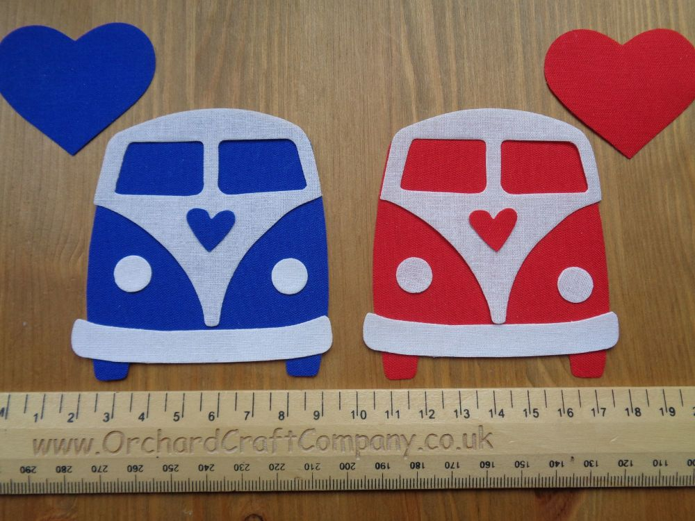 Iron on Fabric Campervan Appliques x 2 Plain Colours