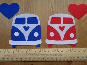 Iron on Fabric Campervan Fronts, Appliques x 2 Plain Colours