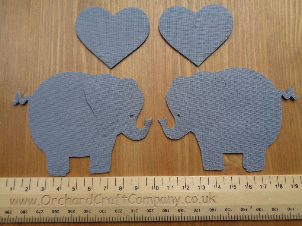 2 Iron on Fabric Elephants with hearts