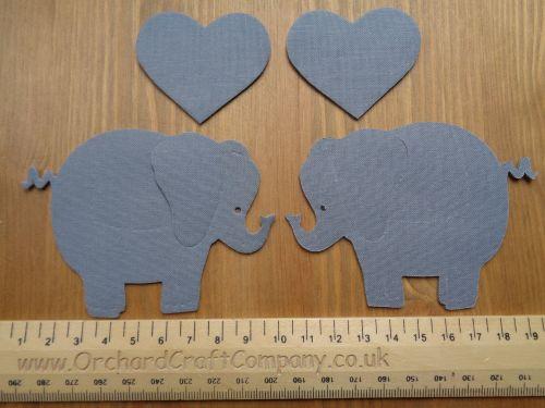 2 Iron on Fabric Elephants with hearts
