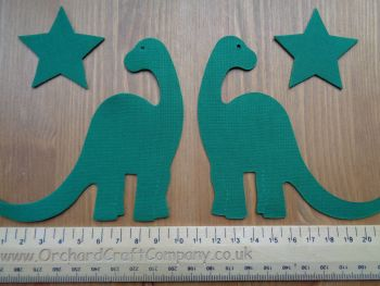 2 Iron On Fabric Dinosaurs, Plain colours