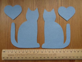 Calico Cats x 2 with hearts, Plain colours