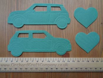 Iron On Fabric  Mini Cooper Cars x 2, Plain colours