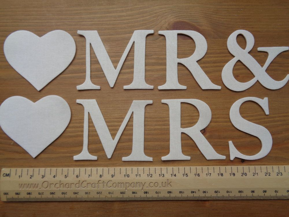 5cm Iron On  Fabric MR & MRS, MR & MR, MRS & MRS (No Sew)