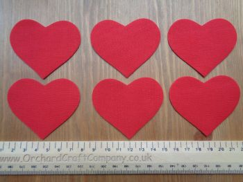 Fabric Iron On Hearts, Set of Six, Plain Colours
