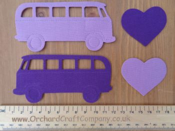 Set of 2 Iron On VW Campervans. Plain colours