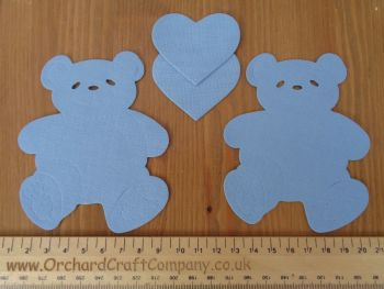 2 Fabric Iron On Teddy Bear Appliques with Hearts. Plain Colours