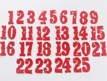 Iron On Fabric Advent Calendar Numbers, 3 cm , No Sew, Christmas Colours