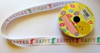3 Metre Satin Ribbon, Happy Easter