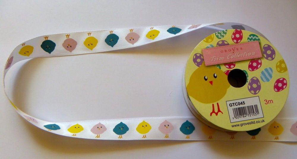 3 Metre Satin Ribbon Easter Chicks