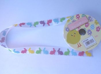 3 Metre Satin Ribbon, Easter Bunnies