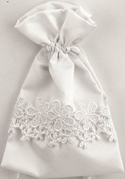 Satin Wedding Pouches - White
