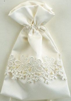 Satin Wedding Pouches - Ivory