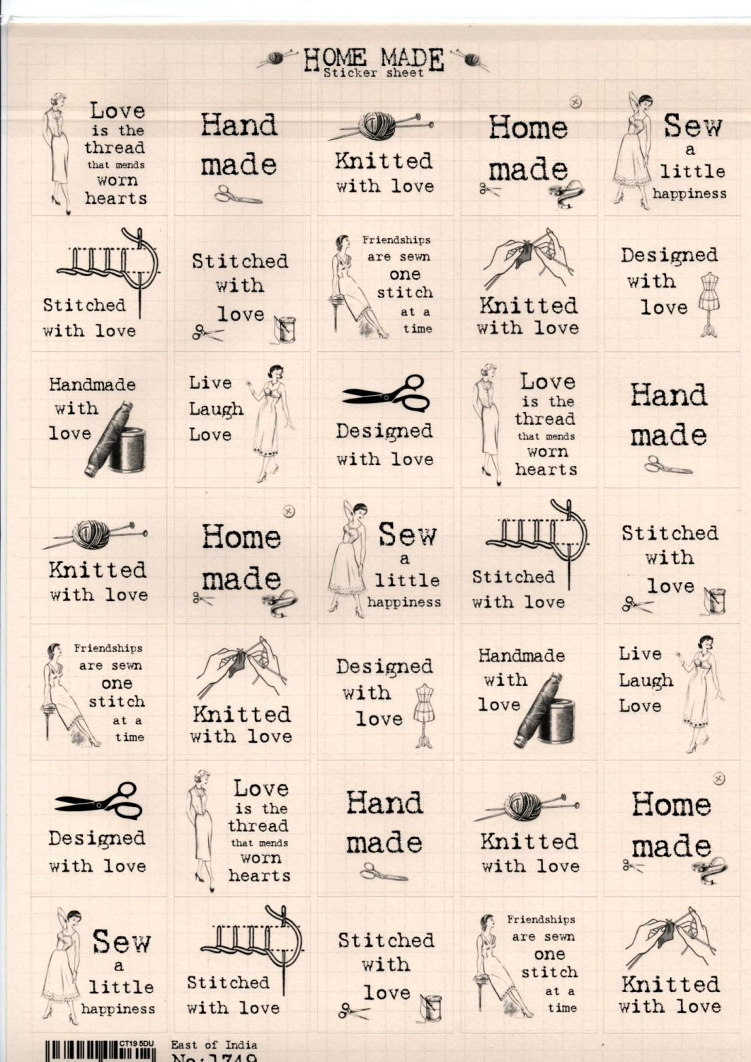 East Of India: Sticker Sheets A 4 - Home Made