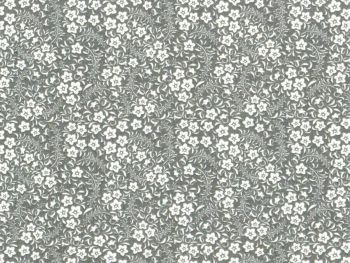 Grey and White Floral Fabric 100% Cotton Poplin