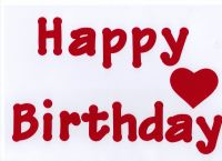Iron on Fabric  Letters -Happy Birthday. 4 - 5 cm letters