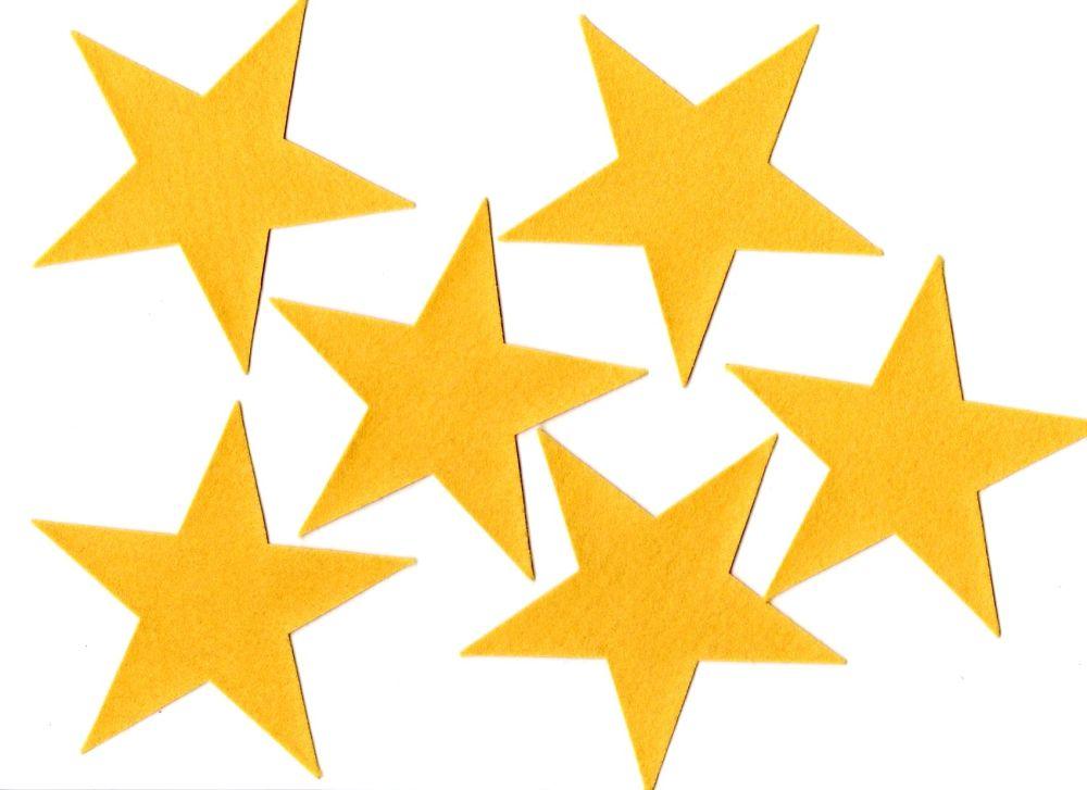 Self Adhesive Felt Stars, Set of six