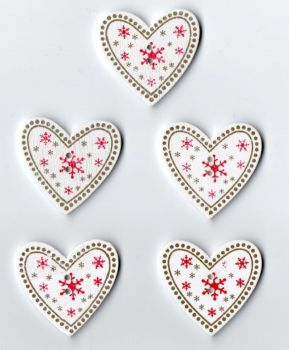 Wooden Heart Christmas Buttons
