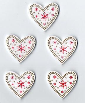 Wooden Heart Christmas Buttons