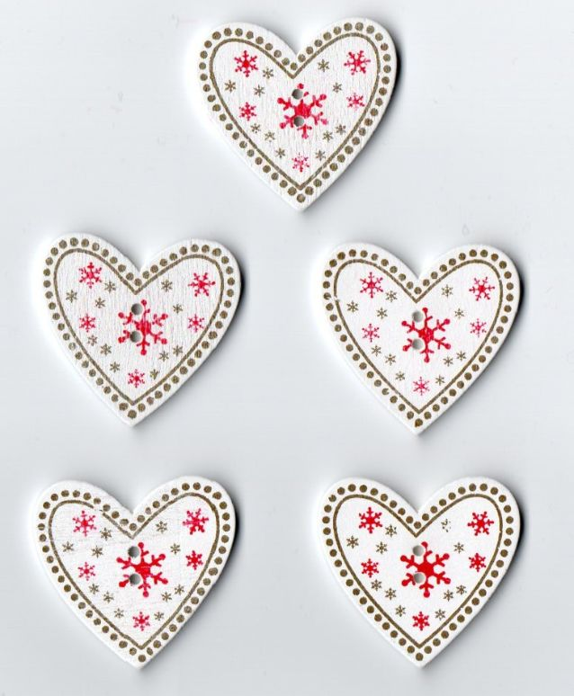 Wooden Hearts Christmas Buttons