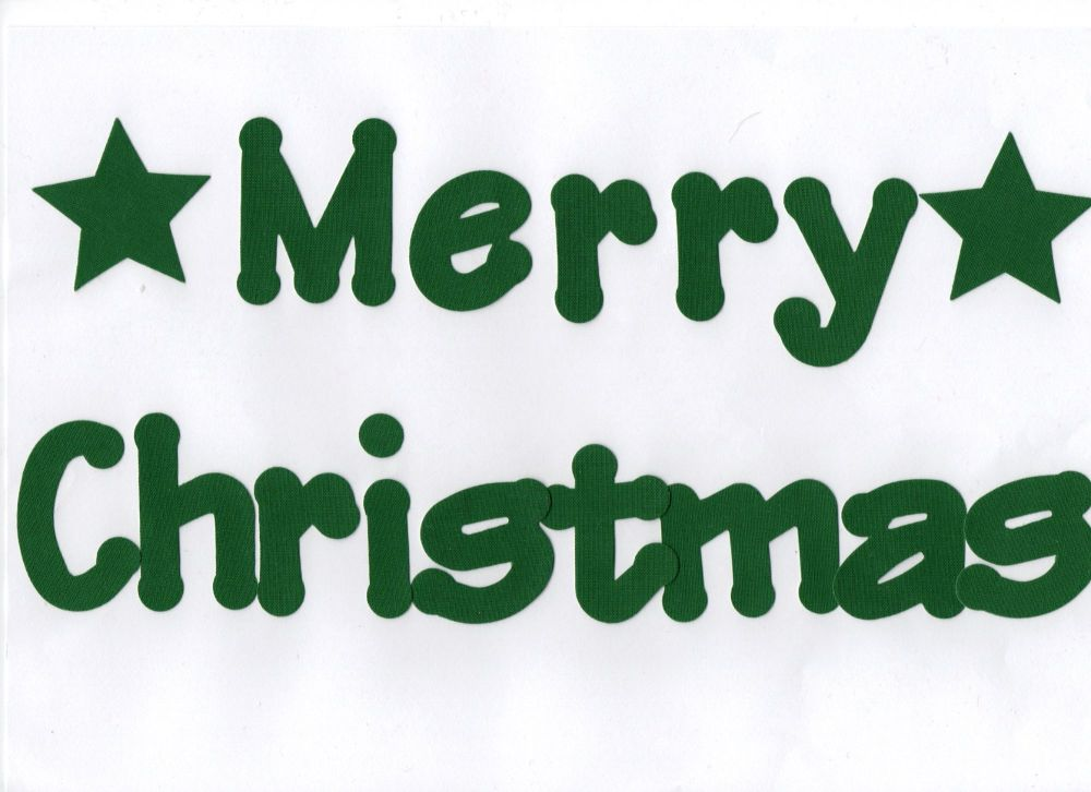Merry Christmas  Iron on Fabric 5 cm letters. Lollipop font. Plain colours