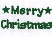 Merry Christmas  Iron on Fabric 5 cm letters. Lollipop font. Plain colours