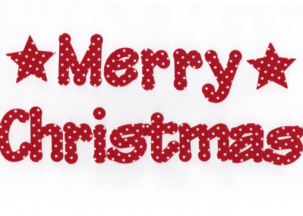 Merry Christmas, 5 cm Fabric Iron on Fabric letters.,Lollipop Font, Christm
