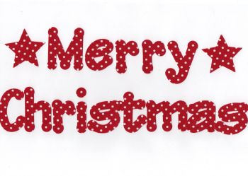 Merry Christmas, 5 cm Fabric Iron on Fabric letters.,Lollipop Font, Christmas Colours