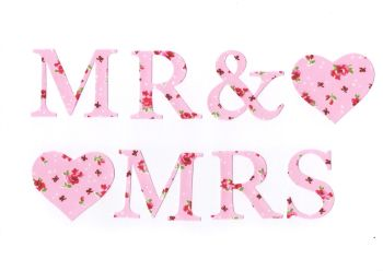 Iron On Floral Fabrics MR & MRS, MR & MR, MRS & MRS (No Sew)