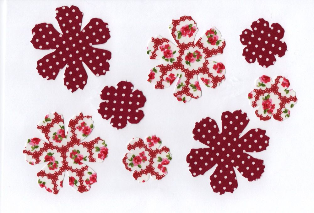 Iron On Fabric Flowers, Dotty Floral