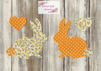 Fabric Iron On Bunny Rabbits, Dotty/ Floral