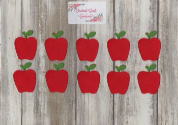 10 Self Adhesive Felt Apples
