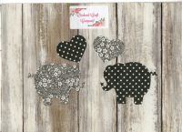 Fabric Iron on Elephants , Dotty/Floral