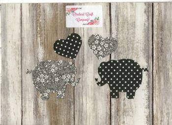 Fabric Iron on Elephants , Dotty/Floral