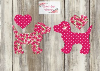 Fabric Iron On Dogs , Dotty/Floral