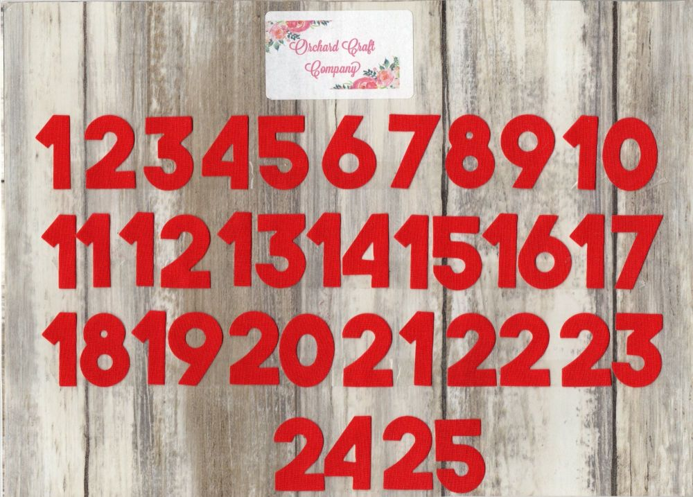 Iron On Fabric Advent Calendar Numbers, 3 cm , No Sew,Plain Colours