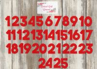 Iron On Fabric,  3 cm Advent Calendar Numbers, No Sew,Plain Colours, Block Font