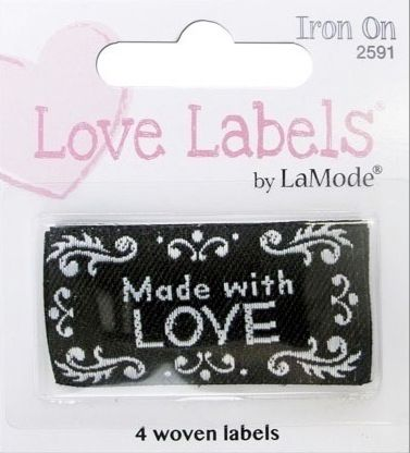 Iron on LOVE LABELS by La Mode Made with Love