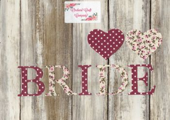 BRIDE, Iron On Fabric Letters 5 cm (No Sew)
