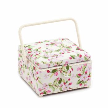 Medium Square Sewing Box,Apple Blossom Festival Design