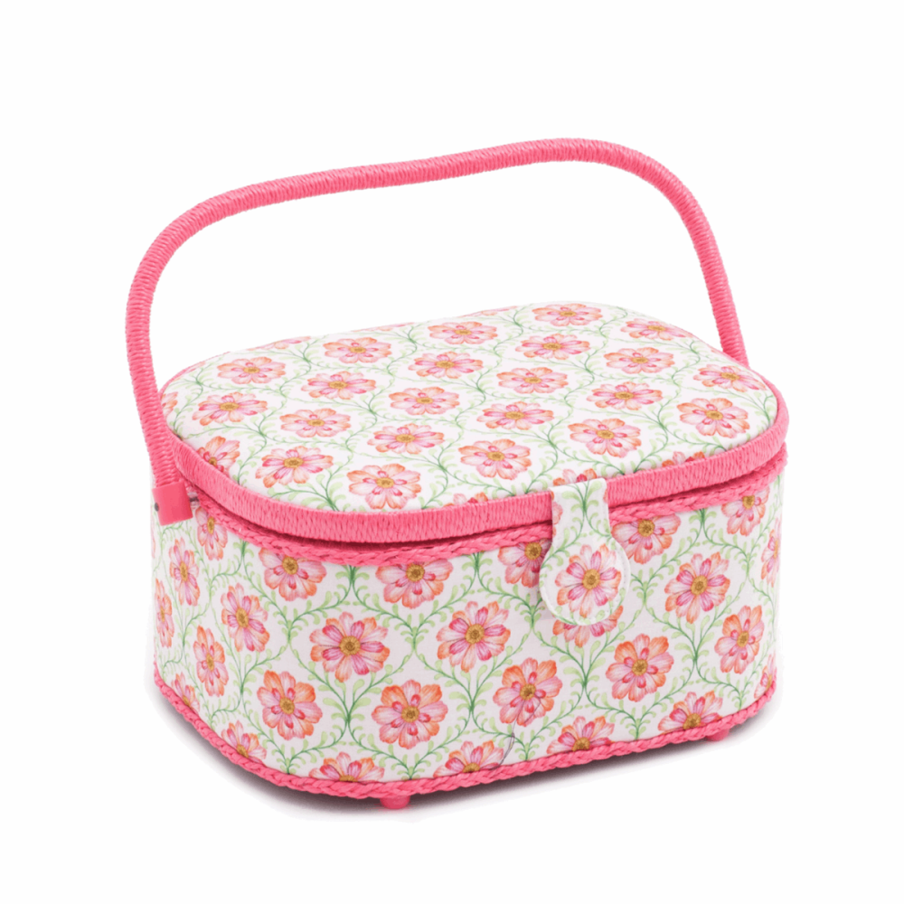 Oval Sewing Box : Blossoming Trellis Design