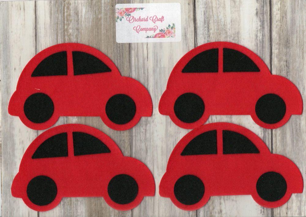 4  Self Adhesive Felt Cars