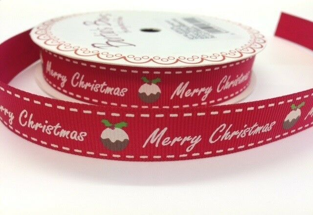 Bertie's Bows Merry Christmas Pudding  Ribbon