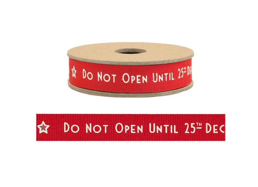 East Of India, Do not open until 25th December ribbon